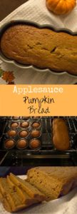 Pumpkin bread made a little healthier with applesauce instead of oil! The perfect Fall treat to satisfy a pumpkin craving and great for sharing.