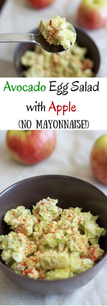 No mayo avocado egg salad with apples. Perfect combination of crunchy and chewy, without the extra calories of mayonnaise.