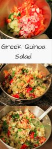 Greek Quinoa Salad. A healthy and easy dinner with a mediterranean spin. Vegetarian and gluten-free meal or appetizer, easy to make ahead and add to meal-prep.