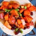 sweet potato black bean veggie honey lime tacos
