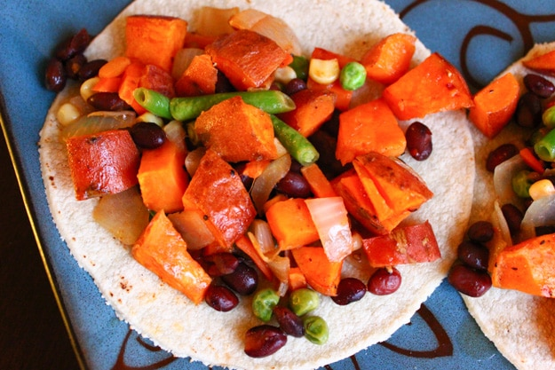 sweet potato black bean veggie honey lime tacos