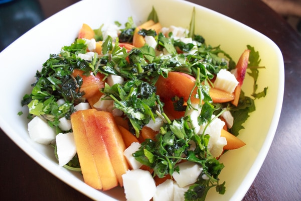 Peach and Arugula Salad with fresh mozzarella and basil. Light and healthy salad that's easy to throw together!