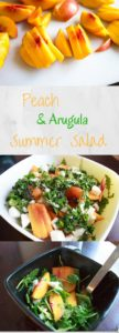 Peach Arugula Salad with fresh mozzarella and basil. Light and healthy salad that's easy to throw together!