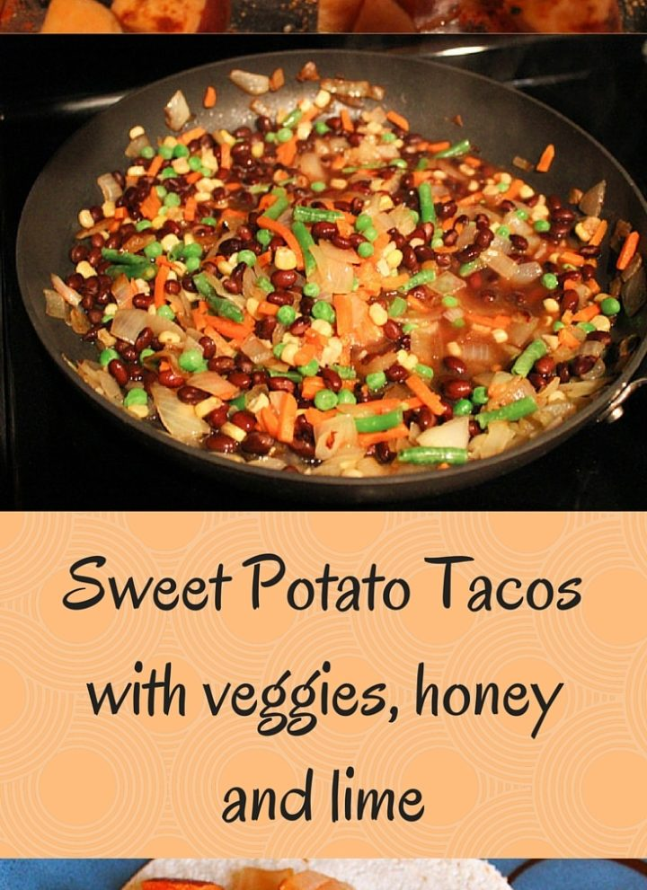 Sweet potato, black bean and veggie tacos with honey and lime
