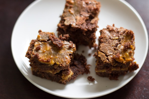 Pumpkin cheesecake brownies. For the days you can't choose between pumpkin, cheesecake or brownies, you can have it all in this dessert!