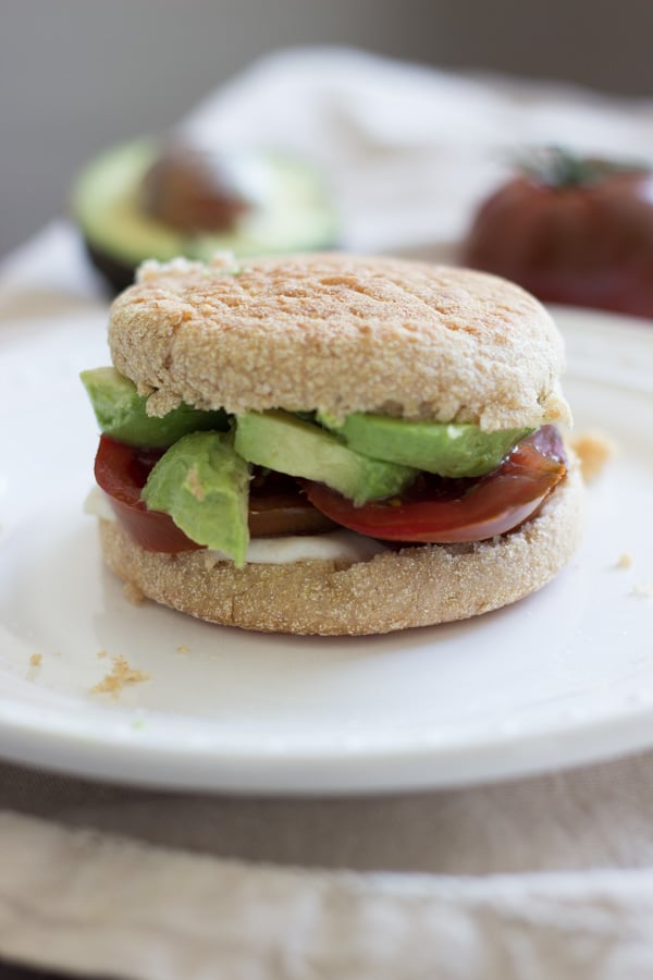 Avocado tomato English muffin