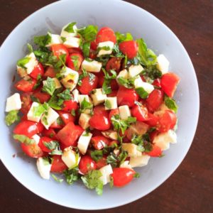 Chopped caprese salad. An easy way to enjoy this delicious appetizer any time you want! This fresh salad will keep you coming back for more. | trialandeater.com