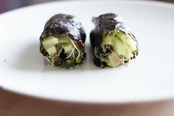 "Vegan friendly ""sushi"" nori roll with only raw vegetables. Fun to make and to eat!"