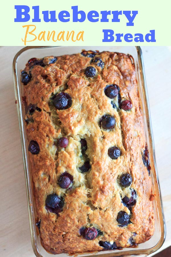 Blueberry banana bread - double the fruit and double the deliciousness! Perfect summertime sweet bread for breakfast or snacking. #trialandeater #blueberry #bananabread #bread #vegetarian