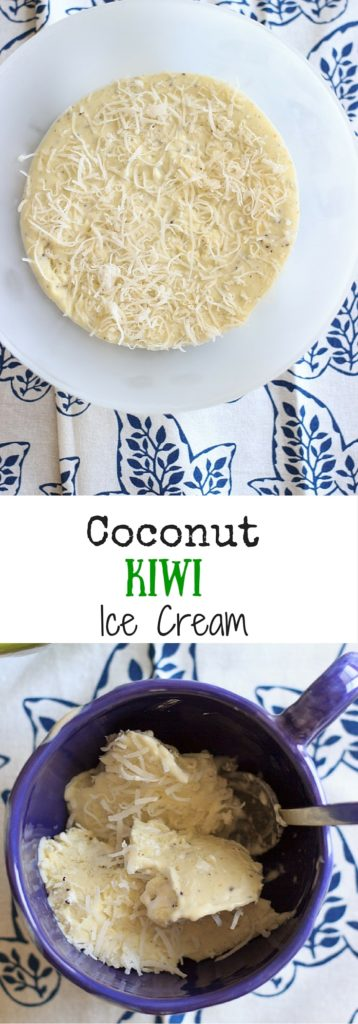 Coconut kiwi ice cream - Only 4 ingredients for a refreshing fruity ice cream that includes marshmallow cream! This no-churn, easy homemade recipe means no ice cream machine required.