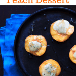 Halved Peaches with brie and honey and thyme on cast iron pan