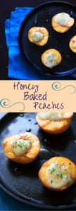 Easy honey baked peaches with brie and (optional) thyme. A sweet and healthy treat with only 3 or 4 ingredients, and ready in 15 minutes!