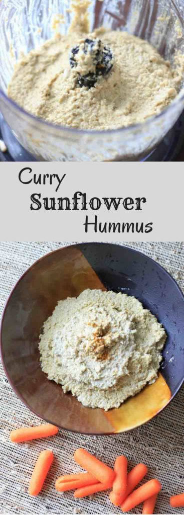 Curry Sunflower Hummus. Change up your normal chickpea hummus by making it out of sunflower seeds instead! Curry + cayenne spices give it an extra kick of flavor.