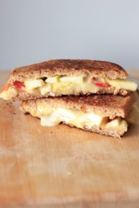 Grown up grilled cheese with two sauces two cheese, and two fruits. Loaded with flavor!