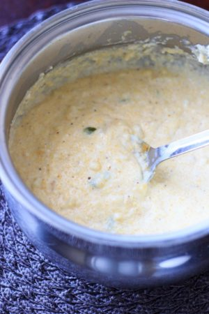 Spicy summer grits. Creamy grits with jalapeno and fresh corn. This will change how you feel about grits! @trialandeater