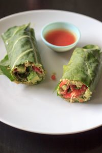 Vegan and gluten free wrap made with collard greens, veggies and sunflower hummus.