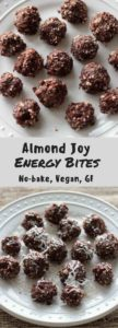 Almond joy energy bites - perfect bite sized healthy snacks to beat that chocolate craving! Vegan & gluten-free treats ready in less than 10 minutes.