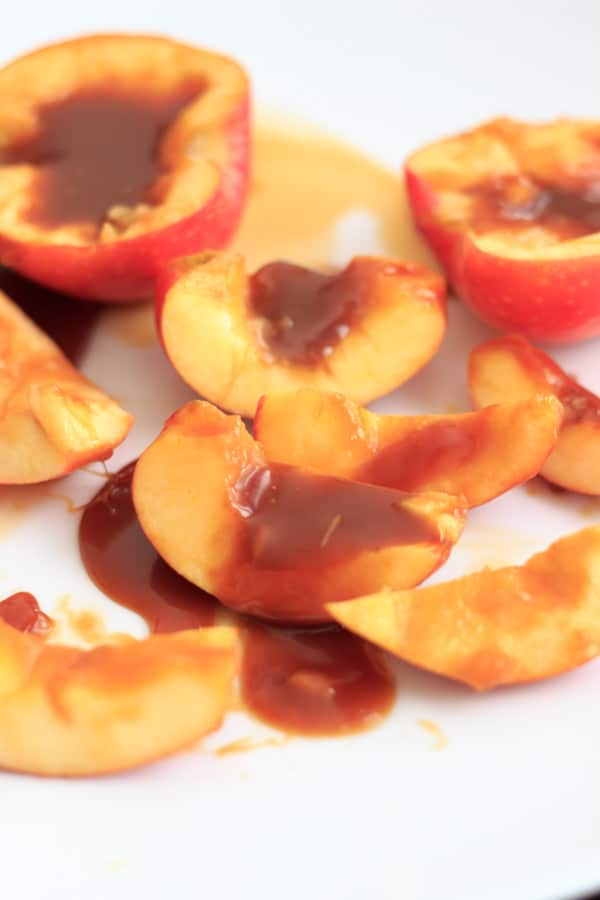 Caramel apple slices - making a caramel apple a little bit easier to eat! And eat and eat.