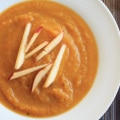 Butternut squash apple soup. Delicious autumn flavors blended together make this vegan soup a crowd-pleasing appetizer.