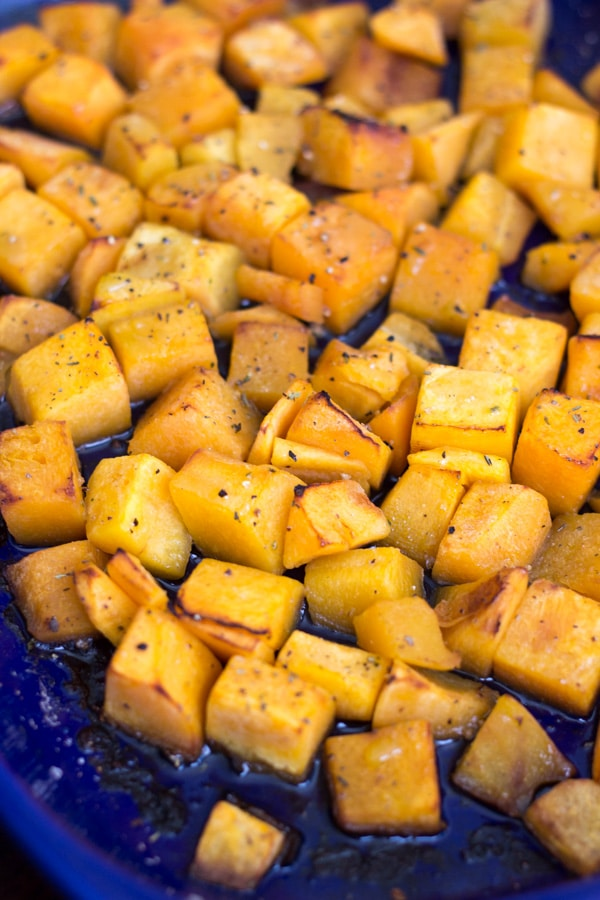 Simple roasted butternut squash, delicious on its own or with other veggies. Can't get much easier than this, especially if you get the squash pre-cut!