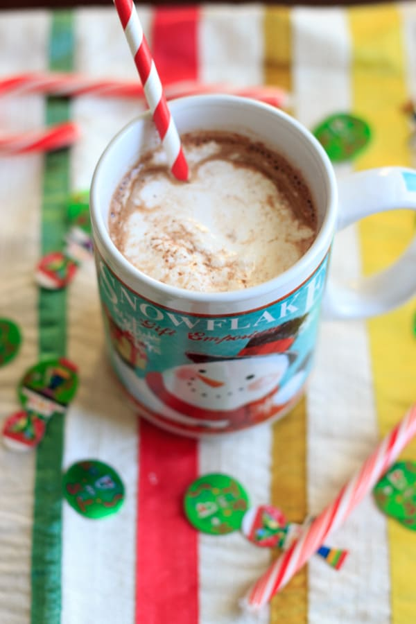Peppermint eggnog hot chocolate