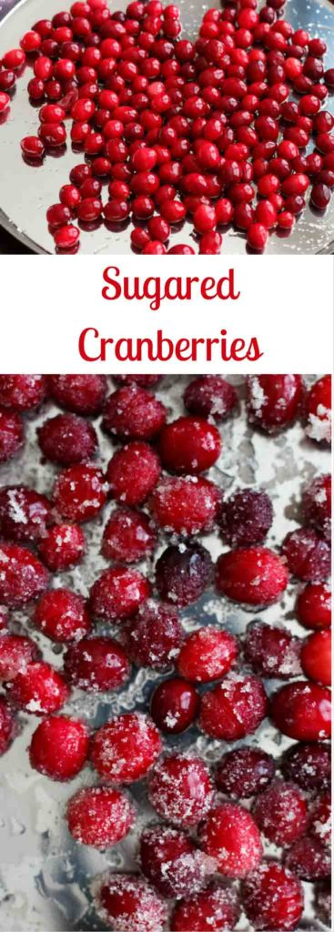 Sugared cranberries. Great for decorating desserts like cakes, baking in goods like holiday cookies or simply as a sweet snack!