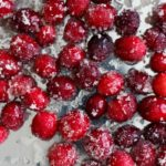Sugared cranberries. Great for decorating desserts or a sweet snack!