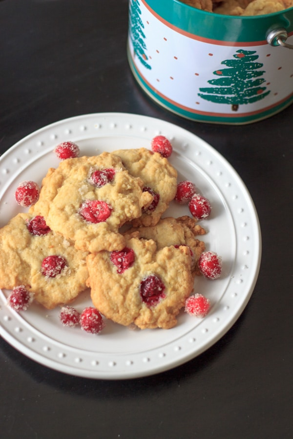 Sugared cranberry cookies - sugar cookies with sugared cranberries baked in to make the sweetest cookie ever - with a twist.