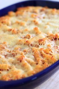 This baked ziti will quickly become a family favorite. Easy comfort food that you can make ahead or freeze for later!