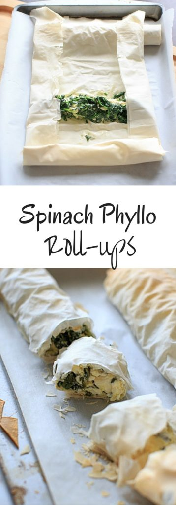 Spinach phyllo roll ups - use your phyllo dough for this simple appetizer (or party finger food). Eat your vegetables while having the option to customize to your favorite flavor combo!
