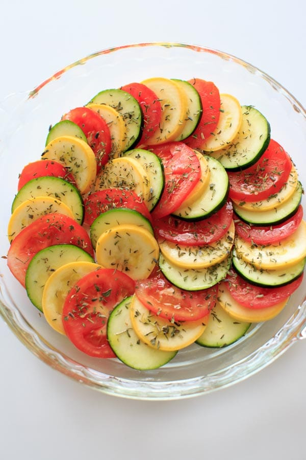 Healthy Squash and Tomato Casserole - Summer squash, zucchini, tomato and herbs make this colorful and healthy side dish a great vegan addition to any summer meal.