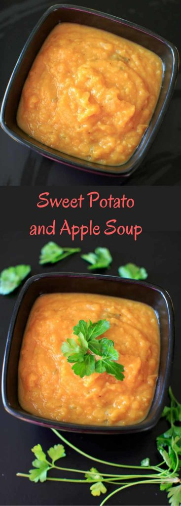 Sweet Potato and Apple Soup - only 4 main ingredients plus spices makes this a super simple and delicious thick, vegan soup for the colder months.
