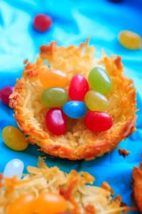 Coconut Macaroon Nests - fill with your favorite candy, or use jelly beans or Easter eggs for a fun holiday treat.