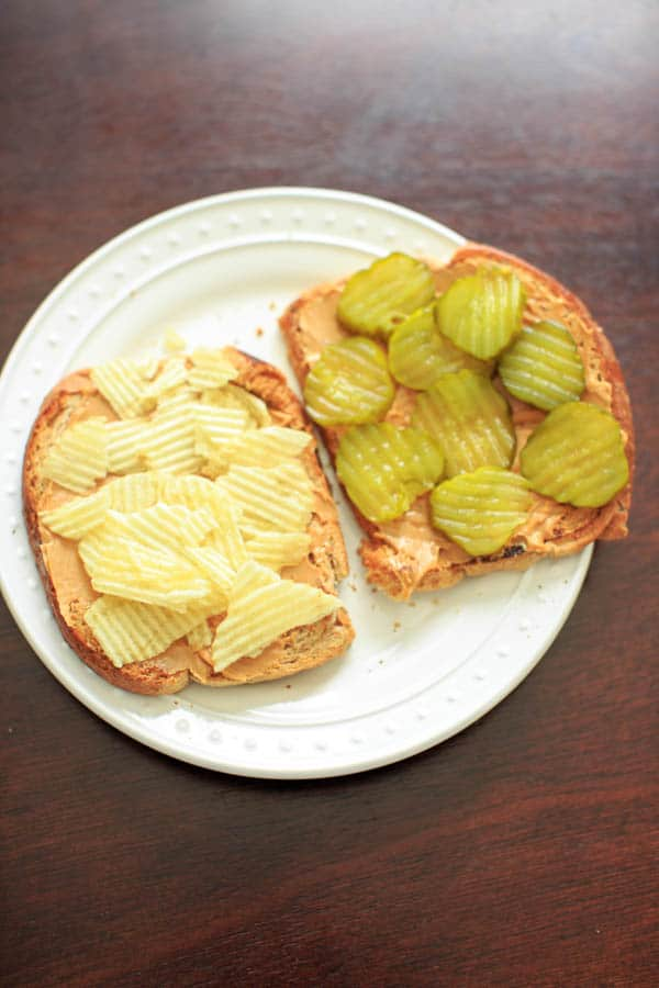 Peanut butter, pickles and potato chips sandwich. A combination that is weirdly delicious and addicting.