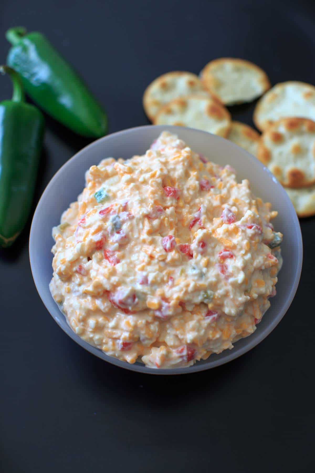 Skinny Jalapeno Pimento Cheese - a spicy, healthier take on the southern favorite. No mayonnaise!