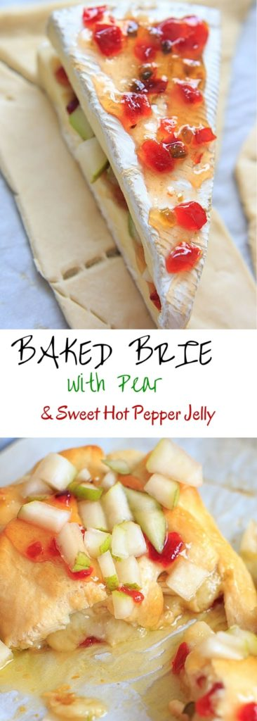 Indulge a little with this Baked Brie cheese with Sweet Hot Pepper Jelly and Pear. Hot and sweet, creamy with a little crunch and a whole lot of deliciousness. Served as an appetizer or dessert, it is sure to be a crowd pleaser.