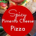Spicy Pimento Cheese Pizza. If you like spicy, you'll like this pizza! Homemade jalapeno pimento cheese and extra jalapeno toppings make this a spicy food lovers dream.