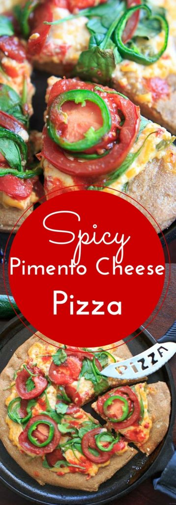 Spicy Pimento Cheese Pizza. If you like spicy, you'll like this pizza! Homemade jalapeno pimento cheese and extra jalapeno + hot sauce toppings make this a spicy food lovers dream.