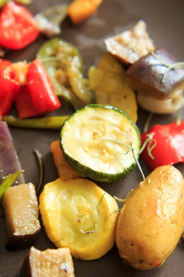 Roasted Vegetables with Rosemary - Colorful and flavorful side dish that will help anyone get their daily dose of veggies.