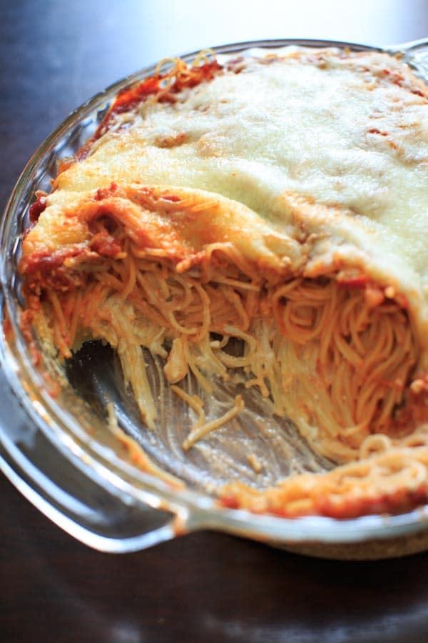 half eaten meatless million dollar spaghetti casserole