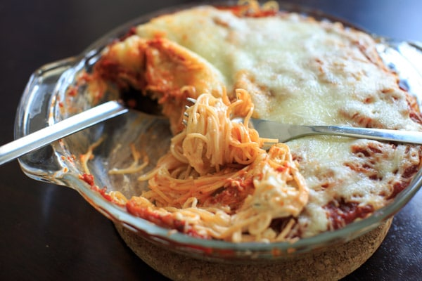 Vegetarian Million Dollar Spaghetti - Pasta casserole with a cream cheese layer that will feed a crowd.