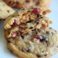 Chocolate Chip Cookies with Pomegranate Seeds. Sweet from cinnamon and vanilla, and slightly tangy from the seeds, these cookies are addicting!