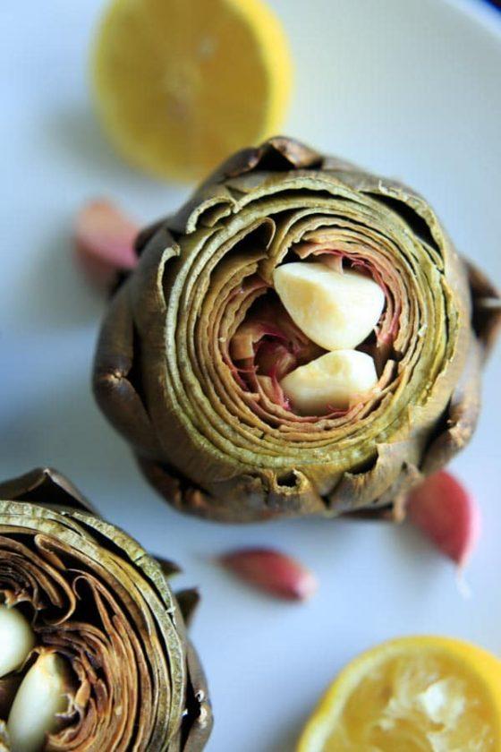 Lemon Garlic Roasted Artichokes