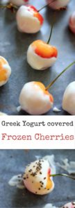 Greek Yogurt Covered Cherries are a refreshing and healthy frozen treat. You can get creative with toppings to make them extra festive!