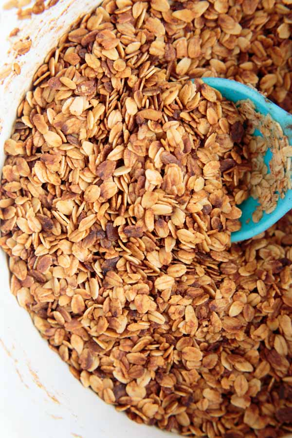 CrockPot Granola with Coconut Oil. An easier way to make this healthy gluten-free snack in a slow cooker instead of the oven.