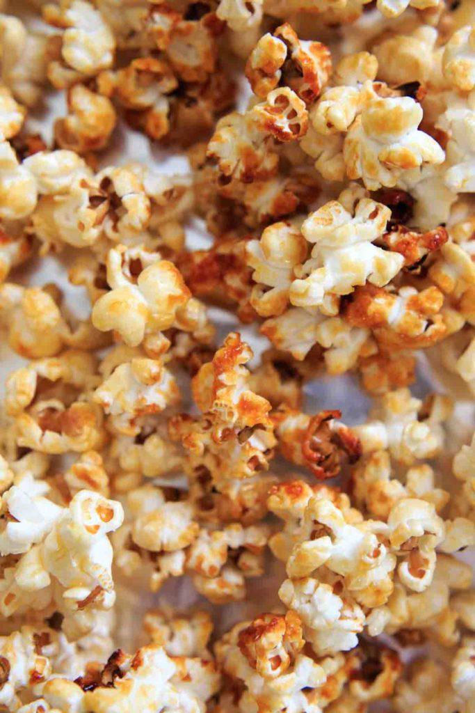 Close up shot of kettle corn popcorn