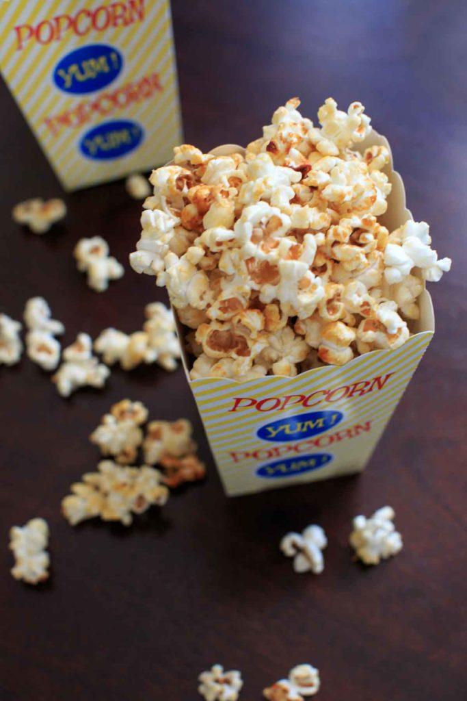 kettle corn in a popcorn box