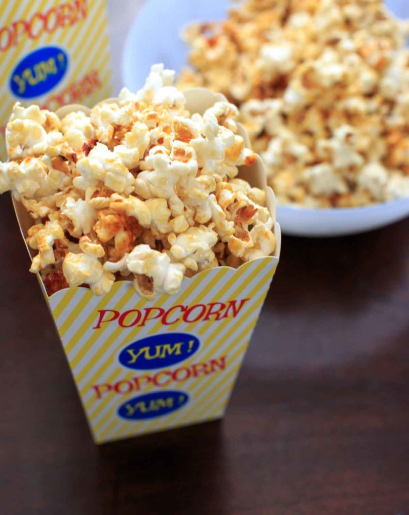 kettle corn in a bowl and movie popcorn box