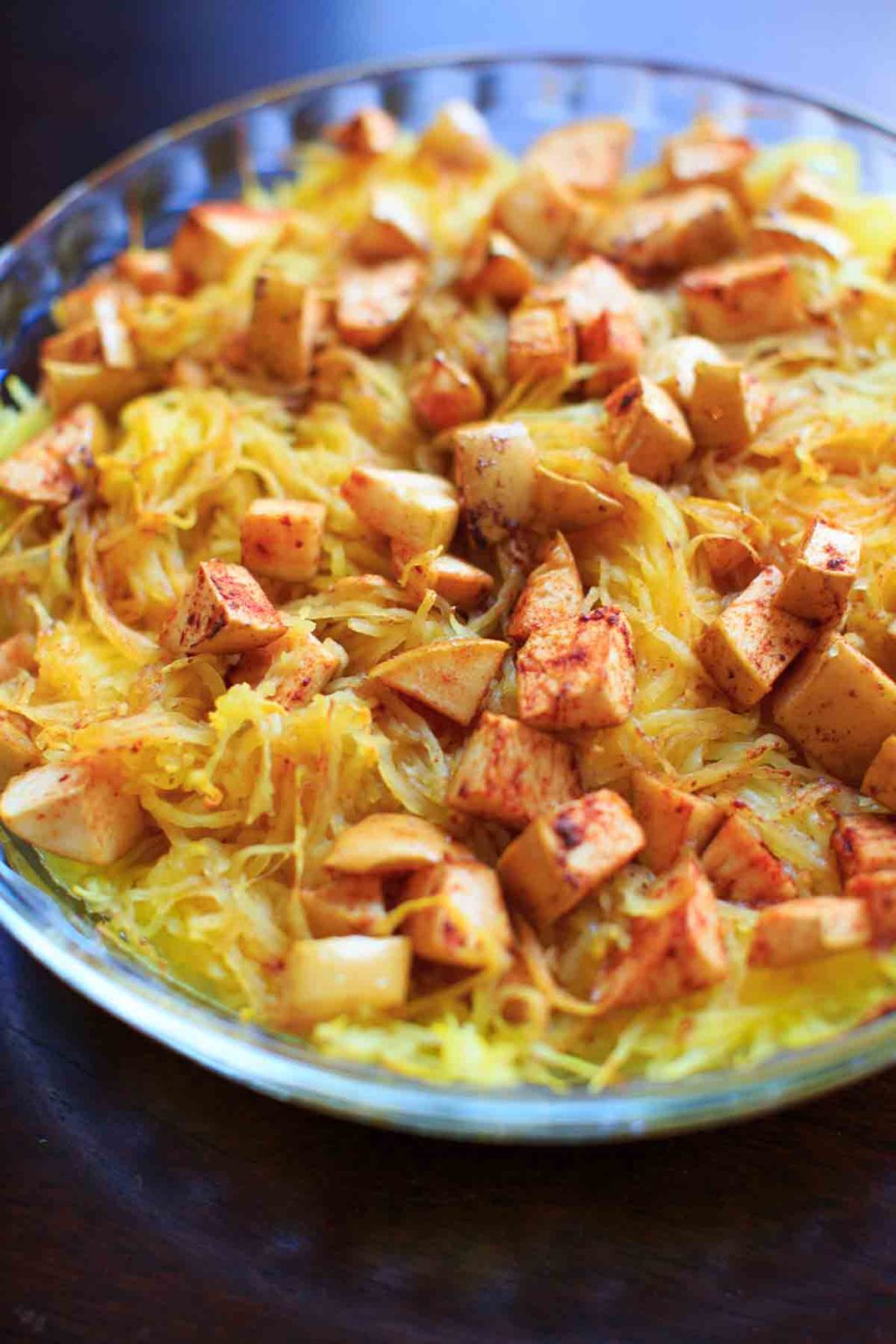 Maple Apple Spaghetti Squash Bake - a vegan friendly, gluten free veggie side dish that is great for family dinners and holidays.