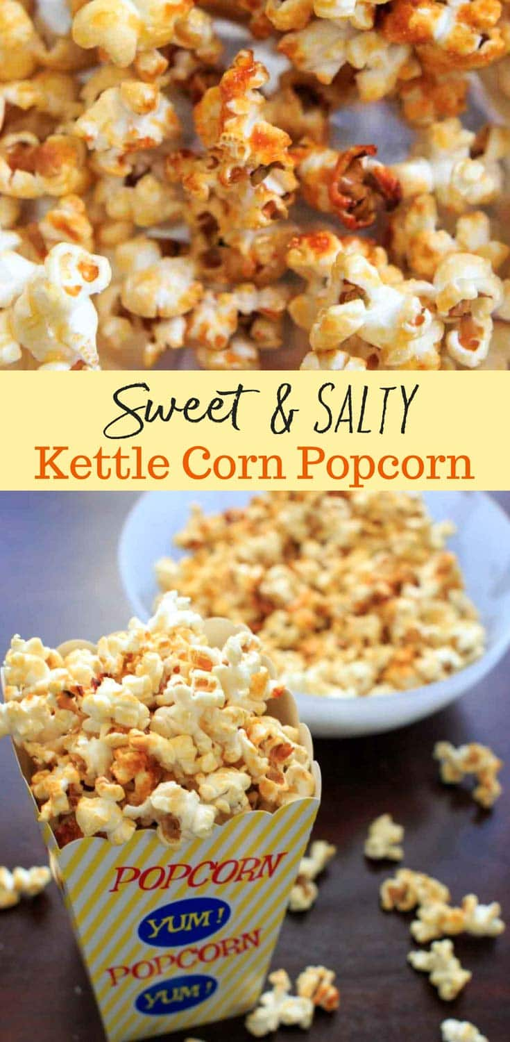 Sweet and salty kettle corn popcorn. A highly addictive, easy to make snack that takes 5 minutes on the stove top with only 4 ingredients!